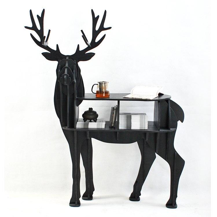 European Creative Elk Deer Animal Shaped Wooden Bookcase