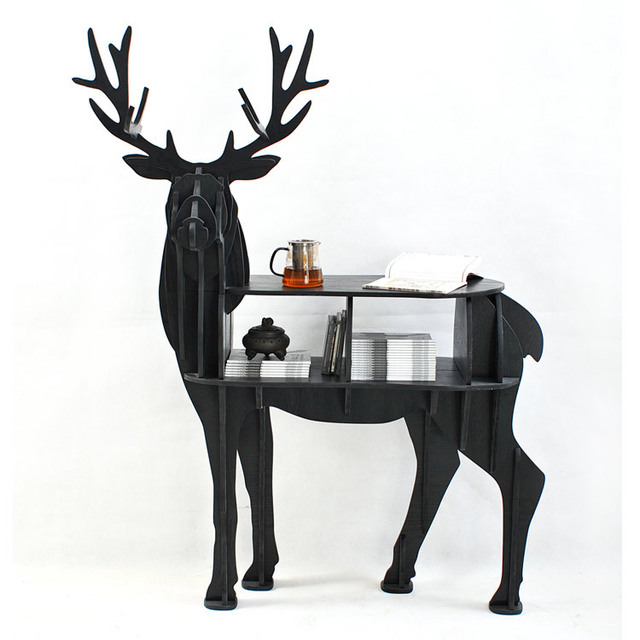 European Creative Elk Deer Animal Shaped Wooden Bookcase Shelves Console  Table Ornament Creative Home Decoration Coffee