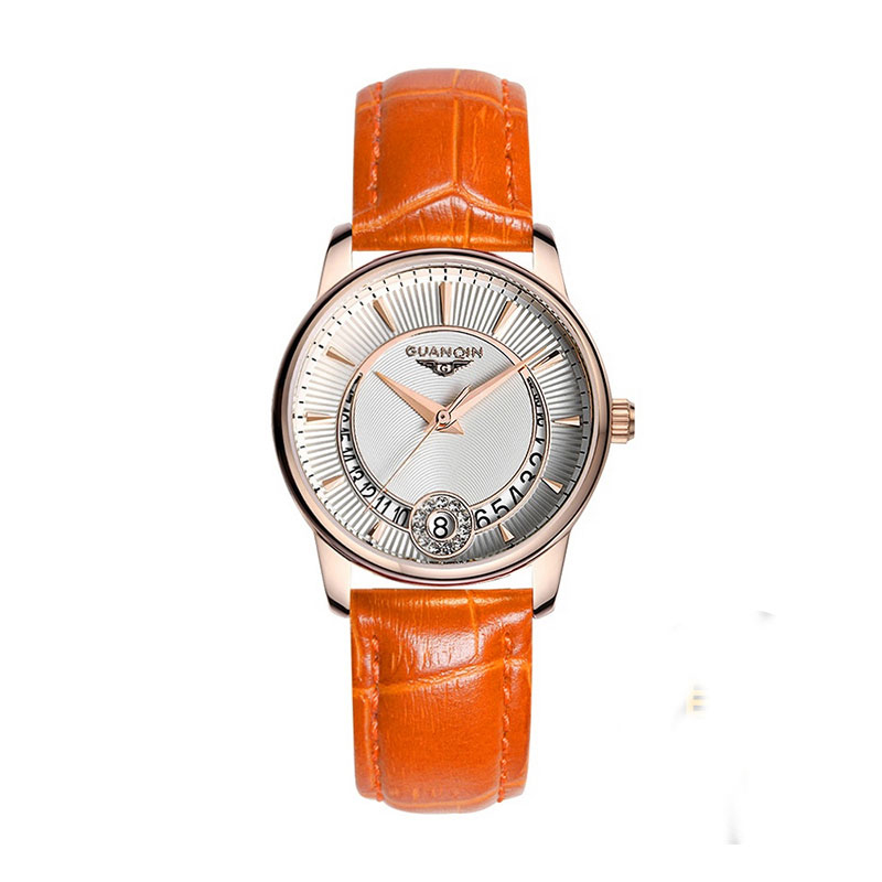 GUANQIN GQ15009 Women's Fashion Casual Quartz Watch Gold Case Leather Strap Ladies Luxury Jewelry Watches relogio feminino