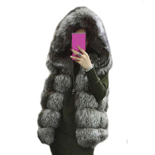 Lisa Colly Hot Sale 2017 winter coat Women Faux fur coat hooded vest stripe medium-long vest