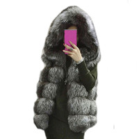 2015 Winter Coat Silver FAUX Fur Coat Hooded Vest Stripe Medium Long Vest Large Size Women
