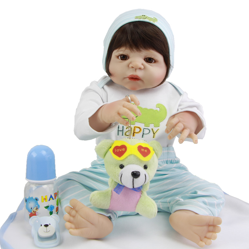 New 23 inch Full Silicone Reborn Boy Baby Doll Handmade Newborn Babies Lifelike Alive Dolls For Kids Birthday Xmas Gift 57cm full silicone shower doll reborn baby boy doll kids playmate gift handmade lifelike bebe juguetes babies toys for bouquets
