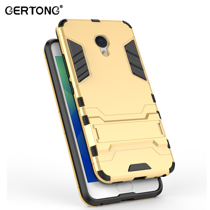 GerTong Fashion TPU & PC Dual Armor Back Cover Phone Case For Meizu M5 Note M5S M3S Mini M3 Note U10 U20 with Stand Holder Shell feature phone