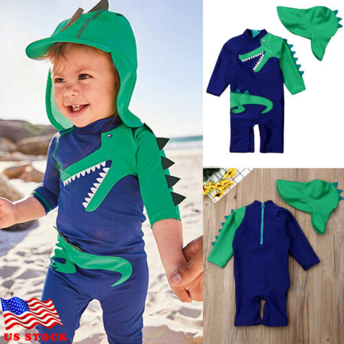 2Pcs Dinosaur Swimsuit Toddler Baby Kids Boy Dinosaur Swimwear Surfing Beachwear Sun Protection Children Bathing Suit