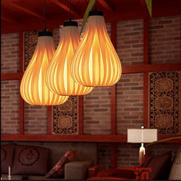 Bamboo art lamps Asia Thai Japanese Nordic lamp veneer coffee shop garden restaurant study living room Pendant Lights zb25 southeast asian wood veneer led pendant lamps restaurant living room bedroom room hotels bamboo pendant lights za62 zl121 ym