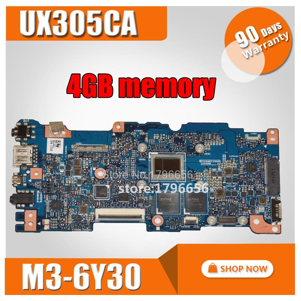 For ASUS Zenbook UX305CA UX305C UX305 M3-6Y30 CPU 4GB Memory laptop motherboard tested 100% work original mainboard kefu for asus zenbook ux305ca ux305c ux305 m3 6y30 cpu 8gb memory laptop motherboard tested 100