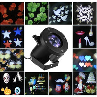 LED Outdoor Snow Projector Christmas Halloween Party Theme Pattern 12 Different Slides Waterproof Projection Party Glow Props