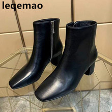 New Fashion Square toe Genuine Leather High Quality Women Ankle boots Zipper Med heels Short Shoes Winter Martin boots 2017 new autumn winter flower square heels round toe shoes genuine leather women boots side zipper women ankle boots botas