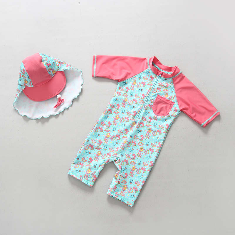 Siamese Swimsuit for girls pink Beach kids Long sleeve sunscreen quick drying and warmth retention swimwear with beach Sun hat