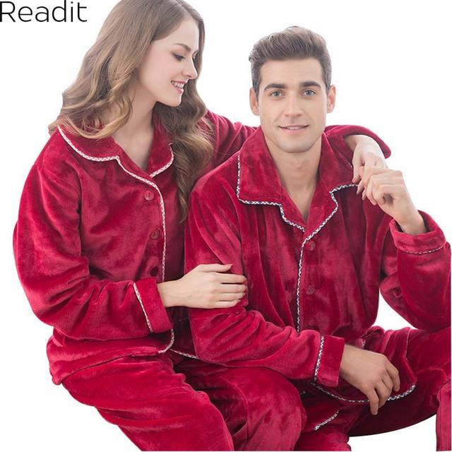 Mujeres hombres Parejas Pijamas Otoño Invierno Pijama de Franela Espesar de Dos Piezas Pijama Homewear Establece PA1738P