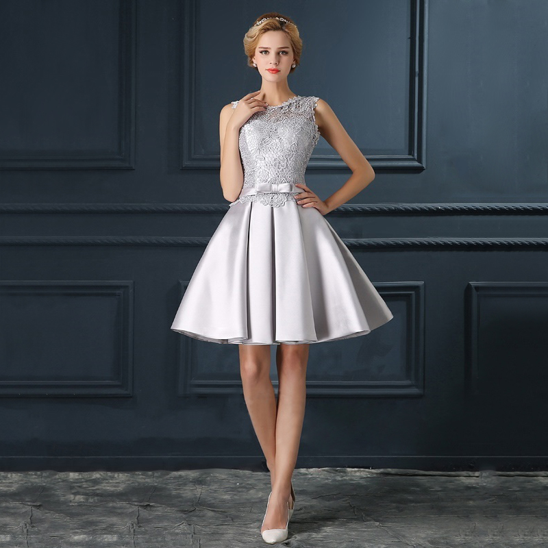 Romantic Silver Lace A Line Cocktail Dresses with Bow 2016 Open Back ...