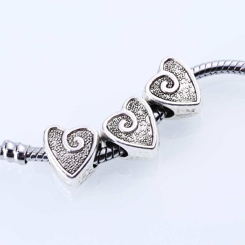 Tibetan Silver Metal Hearts Beads Fit Pandora Charms DIY Zinc Alloy European Hearts Beads for Bracelets & Necklace 30pcs BC1013