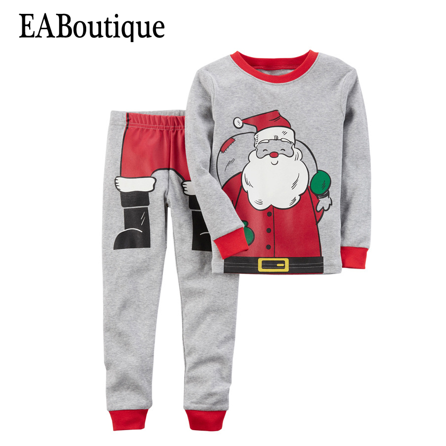 EABoutique Winter boys girls clothes New Kids Fashion Cartoon Santa Christmas outfit with pants 2 piece set 2015 new arrive super league christmas outfit pajamas for boys kids children suit st 004