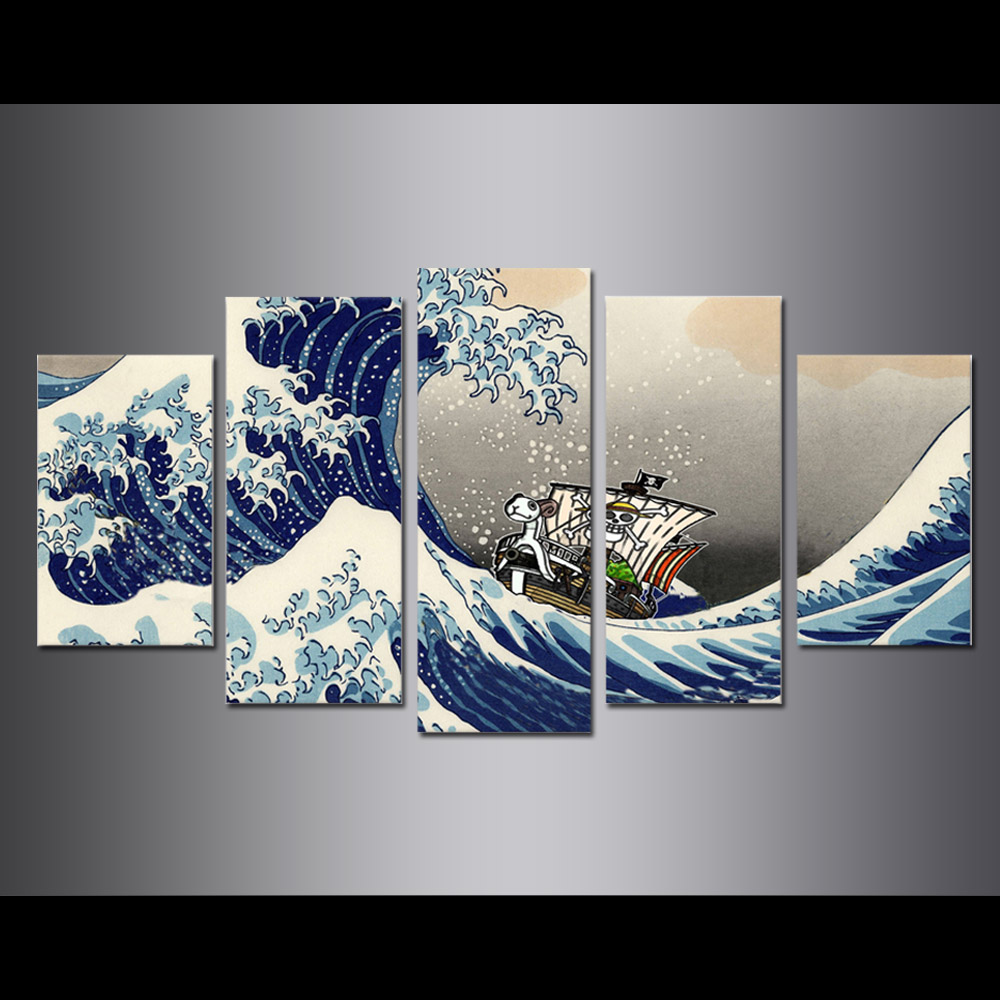 Unframed Canvas Painting Animation One Piece Sea Wave Pirate Ship Giclee Prints Pictures For Living Room Wall Art Decoration