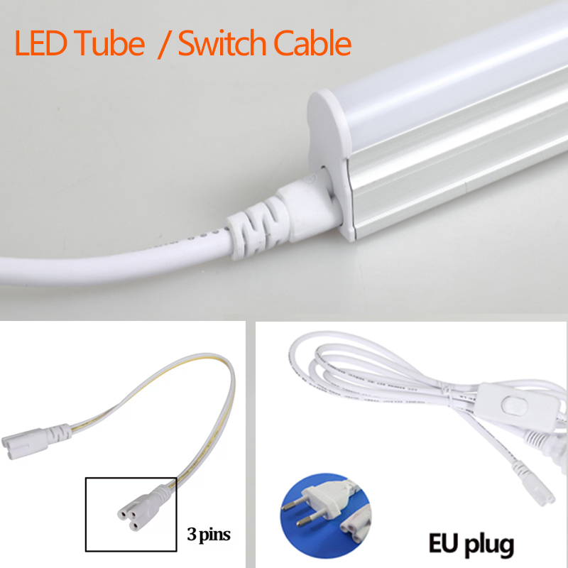 T5 T8 Led Tube Light 220V Cable Switch Connecting Cable For Integrated Tube Wall Lamp 220V 30CM 50CM 180CM  EU Plug Home Light