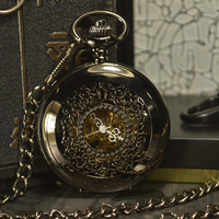 TIEDAN Black Skeleton Mechanical Pocket Watch Men Antique Luxury Brand Necklace Steampunk Pocket Fob Watches Chain