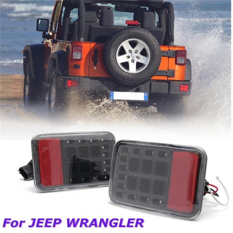 Pair Clear Lens LED Reverse Backup Lamp Rear Bumper Tail Light For Jeep Wrangler JK 2007