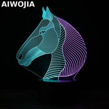 Usb Colorful Rgb 3d Lamp Luminaria De Mesa Usb Led Light Fixtures Luminaria Led Horse 3d Light Christmas gift lamp for children