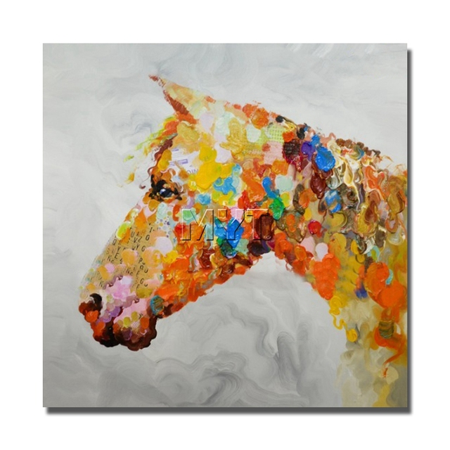 The Colorful Horse Head Image no Framed and With framed Oil Painting ...