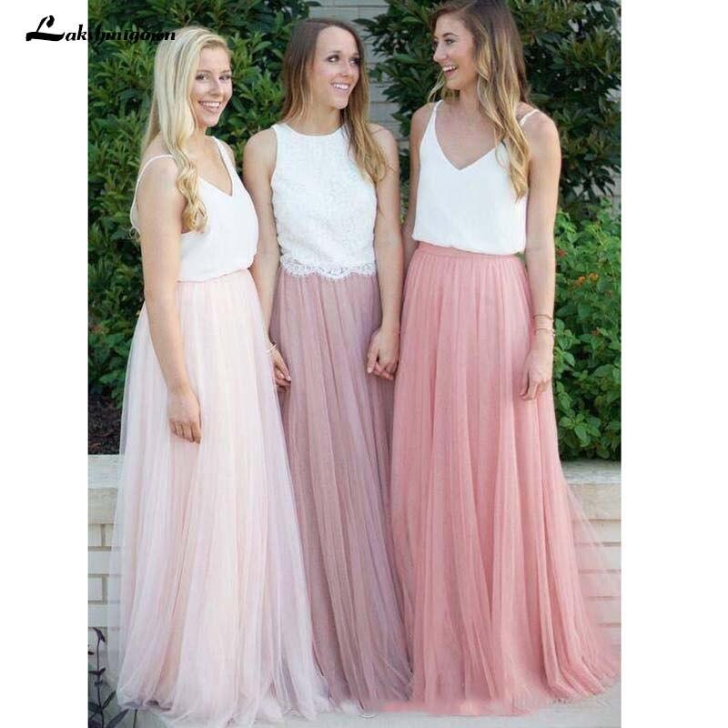 Из двух частей длинные платья подружек невесты нарядные платья для свадьбы Дешевые Очаровательные платья невесты