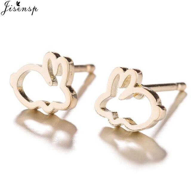 Jisensp Stainless Steel Tiny Rabbit Animal Stud Earrings for Women Cartoon Bunny Earrings Children Jewelry Gift New Year Earings