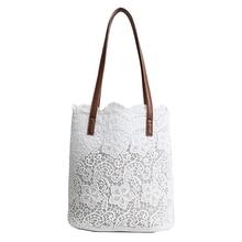 Premium Quality 2 in 1 Floral Lace Handbag Polyester fiber Women Beach Messenger Bag Tote Boho Shoulder