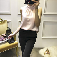 Women Fashion Elegant Pearls Beading Turtleneck Sleeveless Tops And Blouse Satin Brief Tops New 2018 Summer