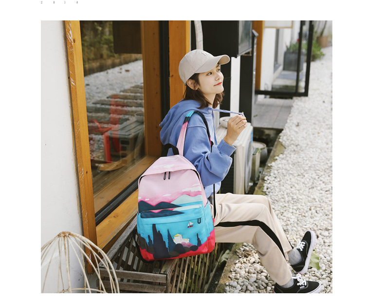 Menghuo Fresh Canvas Backpack Women Landscape School Bags for Teenagers Girls New Backpack Travel Bag Rucksack Mochilas Knapsack_34_07