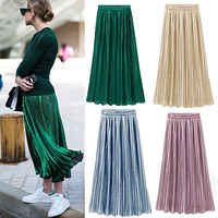 New Ladies Women Silky Long Maxi Skirts Pink Purple Green Silver Yellow Pleated Skirt One Size