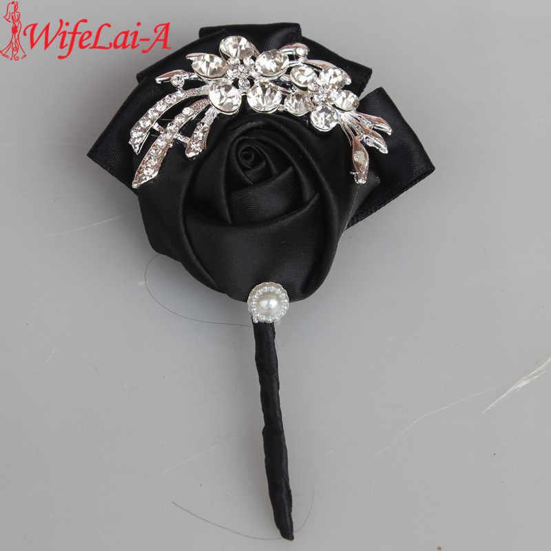 WifeLai-黒サテンダイヤモンド結婚式のコサージュブートニア新郎結婚式の花ブートニエールブローチ花ピン X1104