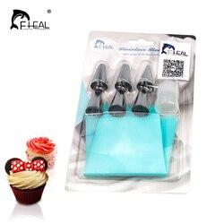 Fhear silicone confeiteiro piping creme saco de pastelaria com 6 pçs conjuntos de bocal de aço inoxidável bolo diy decoração bakeware ferramenta
