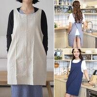 DREAMSOULE Free Lace Apron White Pure Color Linen Household Apron Coffee Shop Apron For Cooking Kitchen
