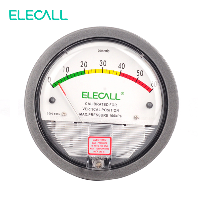 ELECALL TE2000 0-60 PA Micro Manomètre Différentiel Haute Couleur Panneau Rond Type Pointeur Instrument Micromanomètre