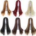 Высокое качество женщин парики из натуральных волос из жаропрочного синтетического парики длинные прямые парик косплей черный бордовый коричневый парик блондинки