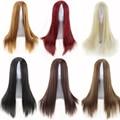 De alta calidad de las mujeres pelucas de cabello natural pelucas sintéticas resistentes al calor cosplay peluca larga recta negro burdeos marrón peluca rubia