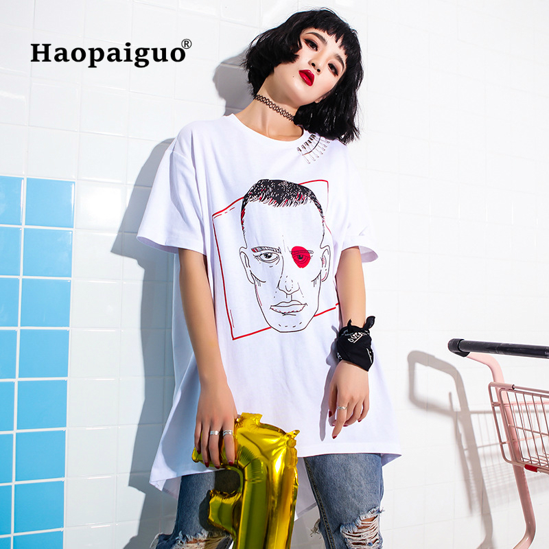 Big Size Women Tops Summer 2018 Casual Woman T Shirt Top Crew Neck Short Sleeve Streetwear Print Ringer Tee Swallowtail Tops