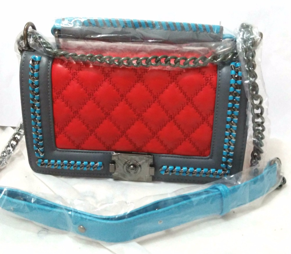 Candy colors hit the color portable small square package classic fashion chain shoulder bag mixed colors