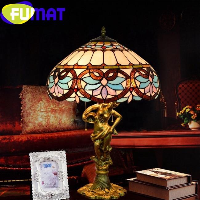 FUMAT Tiffany Европейский стиль барок настольные лампы Витражи Настольная лампа сплав любящее сердце богиня светодиодный Роскошные Настольные светильники