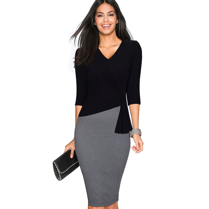 Women Casual Wear To Work Office Sheath Fitted Pencil Dress Autumn Elegant Classy V Neck Patchwork Bodycon Dresses EB333 short dresses office wear