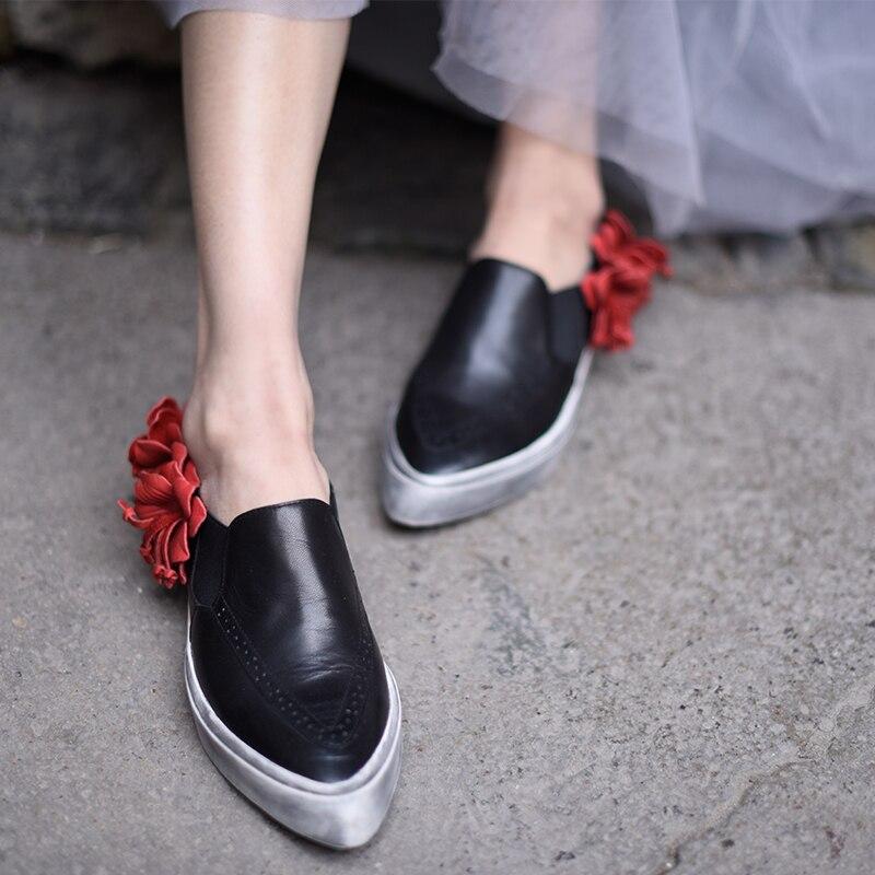 De Main Loisirs Saisons 1 9618 Fleur Fait Pointu Rétro Artmu Quatre En Plates Cuir Black Femmes Original Bout Véritable Chaussures awOYqxg7