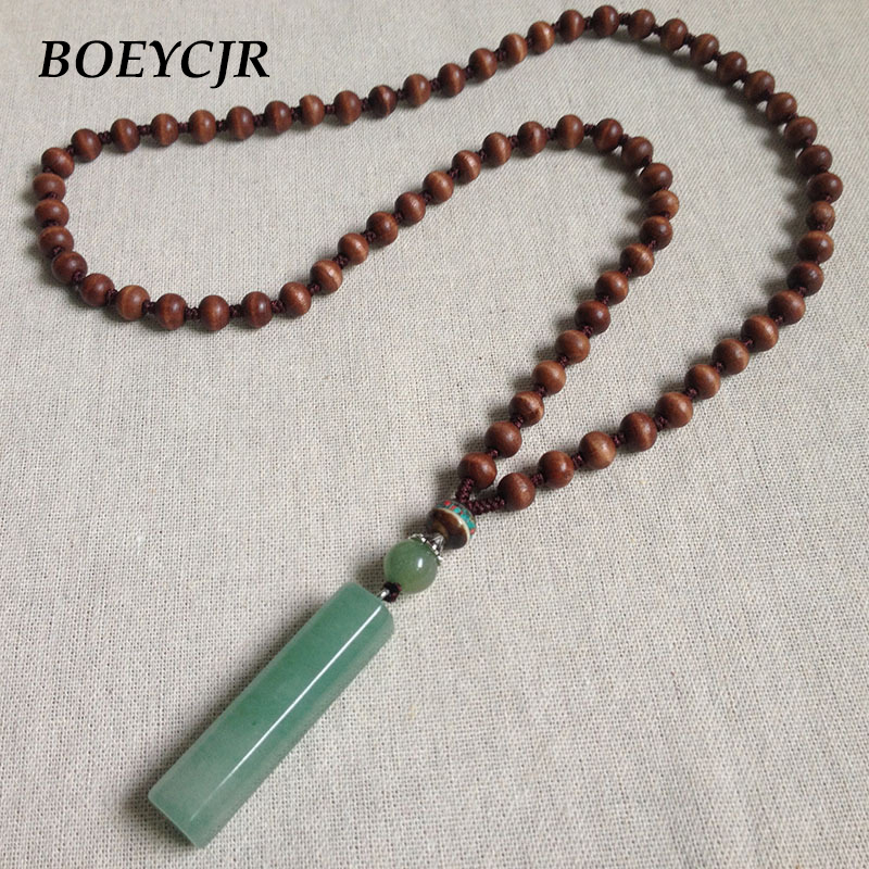 BOEYCJR PANGA-PANGA Wood Beads Necklace Long Chain Handmade Jewelry Ethnic Vintage Stone Pendant Necklace for Men or Women 2018 boeycjr yoga jewelry meditation wood necklace chain handmade jewelry ethnic pendant necklace for men and women gift 2018