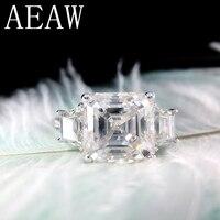 Asscher Cutting Moissantie Ring 14k White Gold Center 9.5ctw 11X11mm DF Color VVS Moissanite Engagement Ring for Women