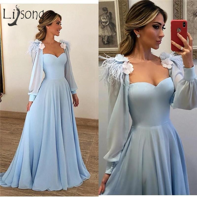 Modest Light Blue Feather Evening Dresses 2019 A Line Long Sleeves Prom Gowns Plus Size Cheap 3D Floral Arabic Party Dress