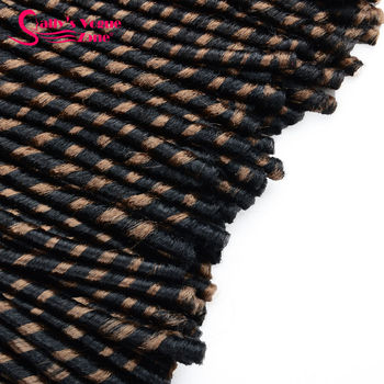 Sallyhair 14inch 70g/pack Faux Locs Synthetic Braiding Hair Extensions Afro Hairstyles Soft Dreadlock Brown Black Crochet Braids 5