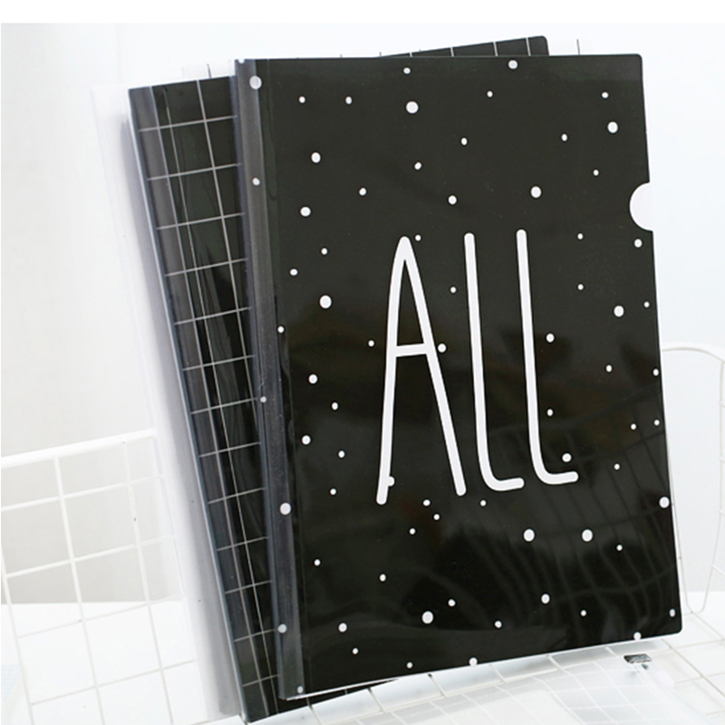 1 Piece Simple Letters A4 Black and White Simple Plastic Paper Folder Office Supplies
