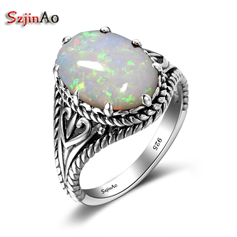 Szjinao Trendy Big Oval Egg Shape Blue Fire Opal Ring Gothic Halo Pure 925 Sterling Silver Engagement Wedding Rings for Women