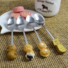 4pcs/lot Korean Bread Designed Metal Spoons Set Salad Dessert Cake Ice Cream Spoon Kitchen Stainless Steel Coffee Tea Spoons
