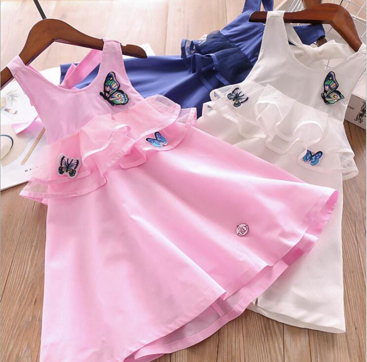 2019 Children Girls Summer Cotton Butterfly Ruffles Dresses Princess Kids Back Hollow Out Dress 6 pcs