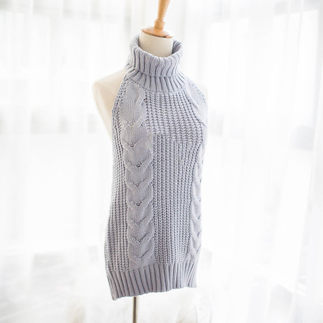 High neck Halter sleeveless knit sweater  Gray / Black color