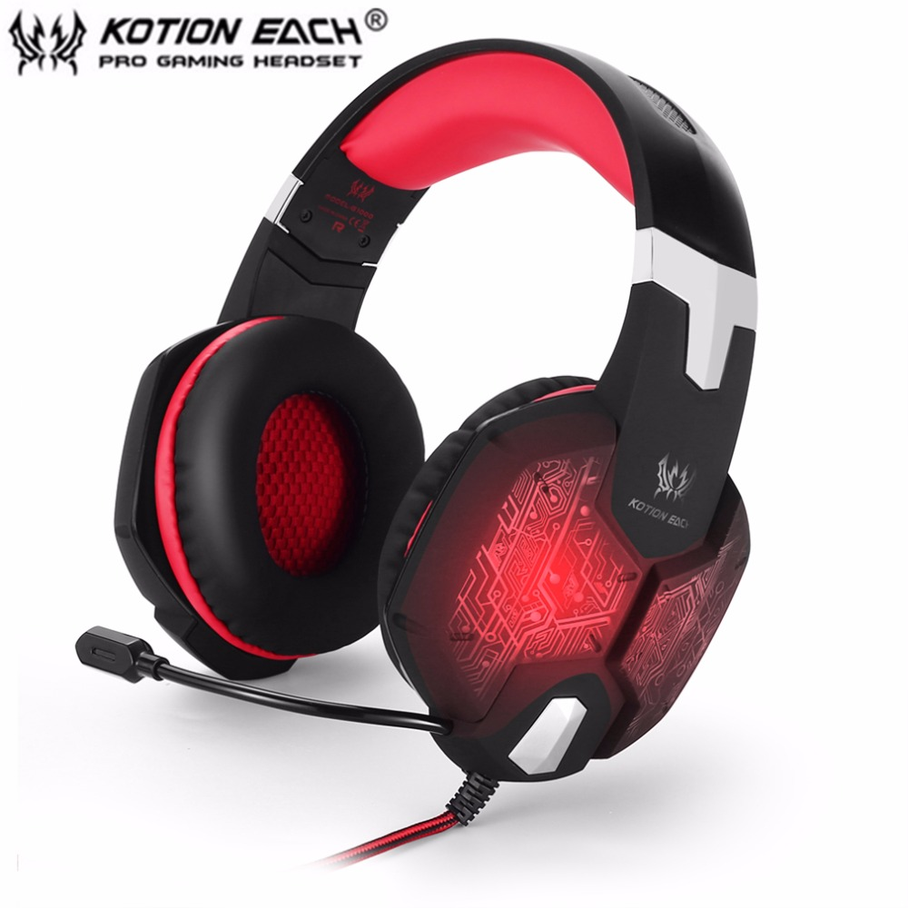 KOTION EACH G1000 Deep Bass Gaming Headphone Stereo Surround Over Ear Headset 3.5mm+USB Headphones With Mic LED Light For PC kotion each g9000 7 1 surround sound gaming headphone game stereo headset with mic led light headband for ps4 pc tablet phone